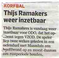 Thijs Ramakers weer inzetbaar