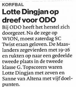 Lotte Dingjan op dreef voor ODO
